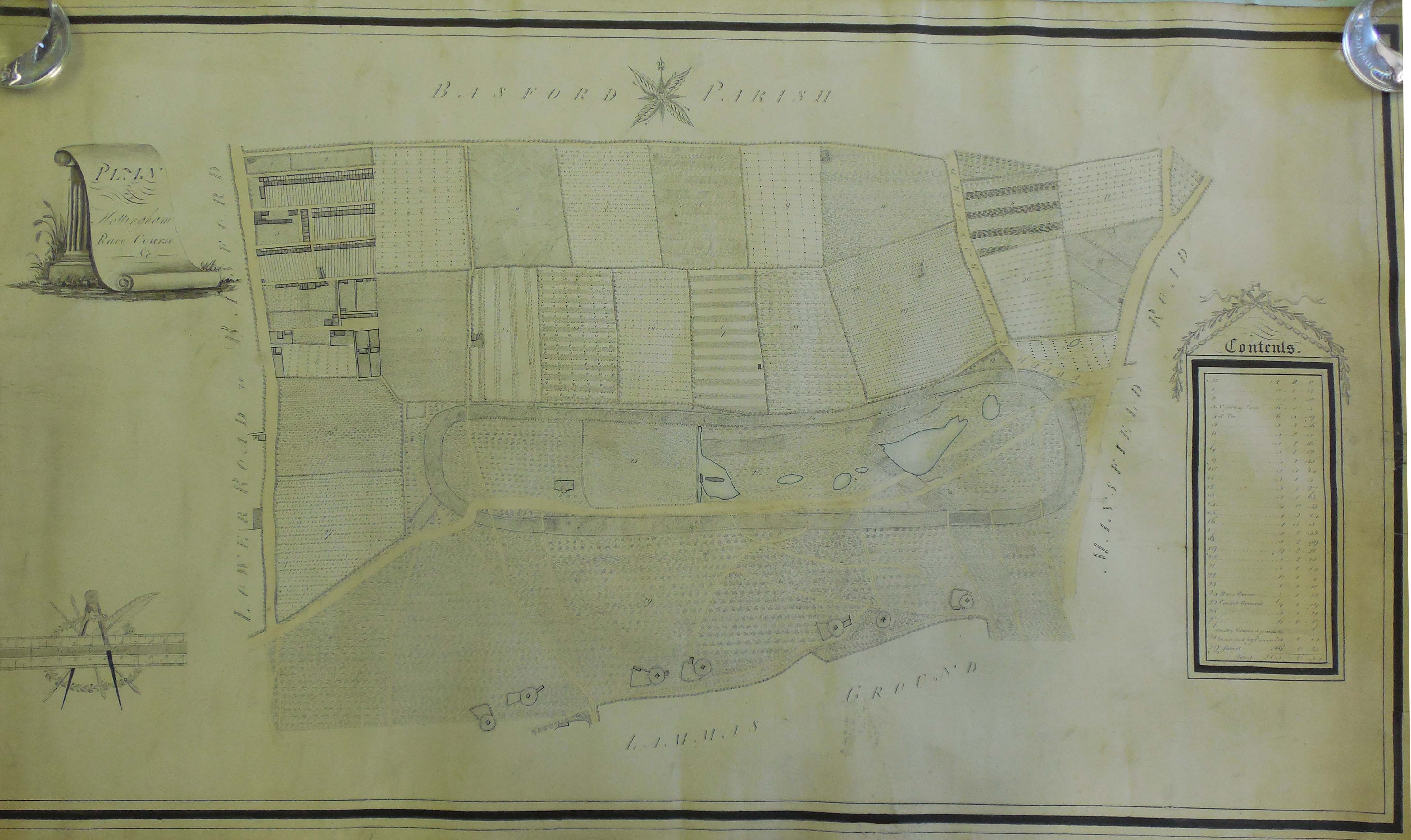 Early 19th Century plan of the Race Course on The Forest reproduced courtesy of Nottinghamshire Archives, NO 25C