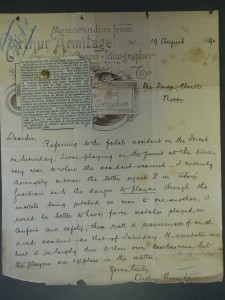 Letter to Town Clerk informing him of circumstances of accident. Nottinghamshire Archives CA TC 10/70 - 5