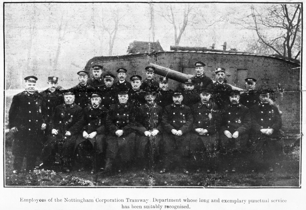 Nottingham Corporation Tramways Employees in 1919, in front of the tank on The Forest Courtesy of Nottingham City Transport and www.picturethepast.org.uk