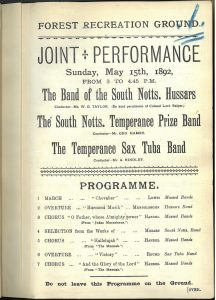 Programme for the first planned concert held in the new permanent bandstand. Nottingham Local Studies Library