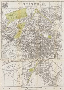 Plan of Nottingham by Fredrick Jackson, highlighting the 'green spaces' created by the 1845 Enclosure Act surrounded by the new streets and houses of the expanding town, c1882. The University of Nottingham, East Midlands Collection
