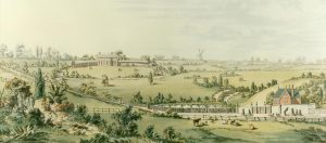 View of The Arboretum showing Waverley Street gates and refreshment rooms, 1852. Nottingham City Council and www.picturethepast.org.uk
