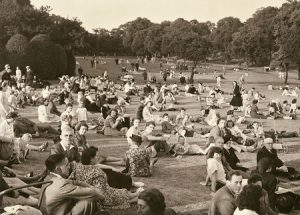 Locals relaxing at a concert, 2 July 1949. Nottingham Post and www.picturethepast.org.uk