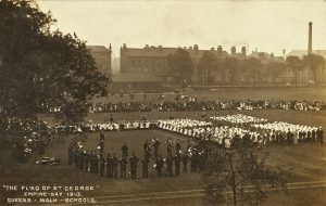 Empire Day, 1913. Children from The Meadows form a St George's cross on Queen's Walk cricket ground. Nottingham City Council and www.picturethepast.org.uk