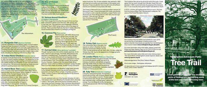 Enclosure Parks tree trail leaflet published